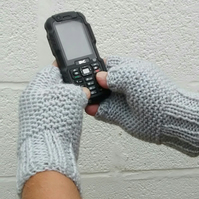 Men's Fingerless Gloves in Grey