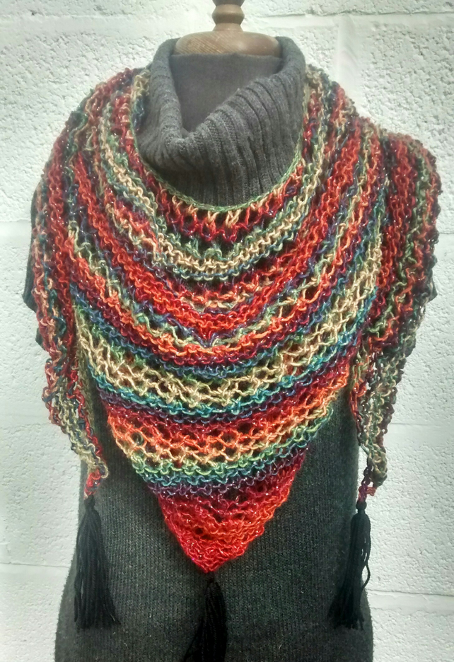 Triangle Scarf - Hand Knitted Shawl