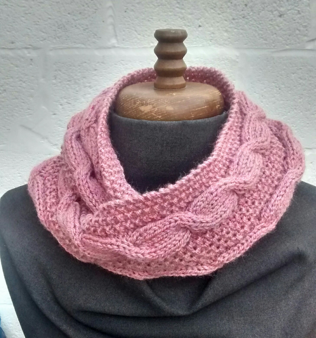 Cowl in Rose Pink Aran, Cable Knit Circular Scarf