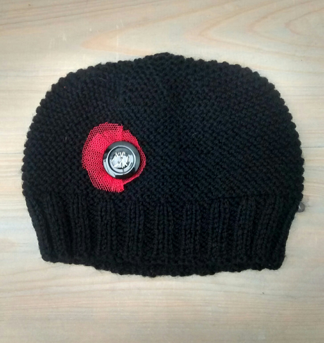 Black Hat, Hand Knitted in Aran with Button Embellishment