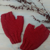 Men's Fingerless Gloves, Russet