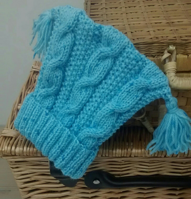 Blue Baby Hat in Cable Knit with Tassels 6 - 12 months