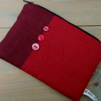Maroon Zipped Pouch - Free UK P&P