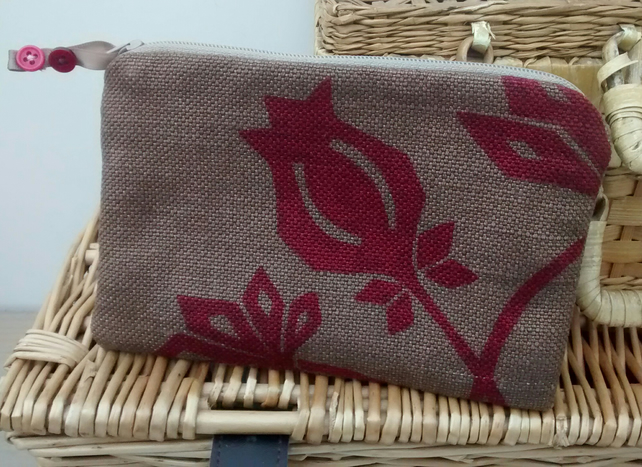 Linen Pouch with Seed Head Design - Eco-Friendly Gift