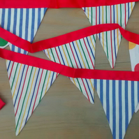 Nursery Bunting, Bright Stripes and Spots Fabric