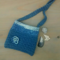 Girl's Crocheted Bag, Denim Blue