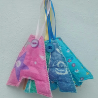 Fabric Initial A, Hanging Letter Decoration, Personalised Gift Tag