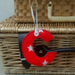 Fabric Initial C, Hanging Letter Decoration, Personalised Gift Tag