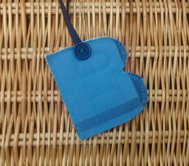 Blue Fabric Initial B, Hanging Letter Decoration, Personalised Gift Tag
