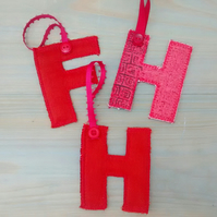 Red Fabric Initial H, Hanging Letter Decoration, Gift Tag