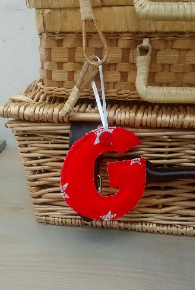 Fabric initial g hanging letter decoration pe folksy for Letter g decoration