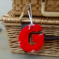 Fabric Initial G, Hanging Letter Decoration, Personalised Gift Tag