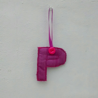 Fabric Initial P, Pink Hanging Letter Decoration, Gift Tag, P