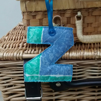 Fabric Initial Z, Hanging Letter Decoration, Personalised Gift Tag