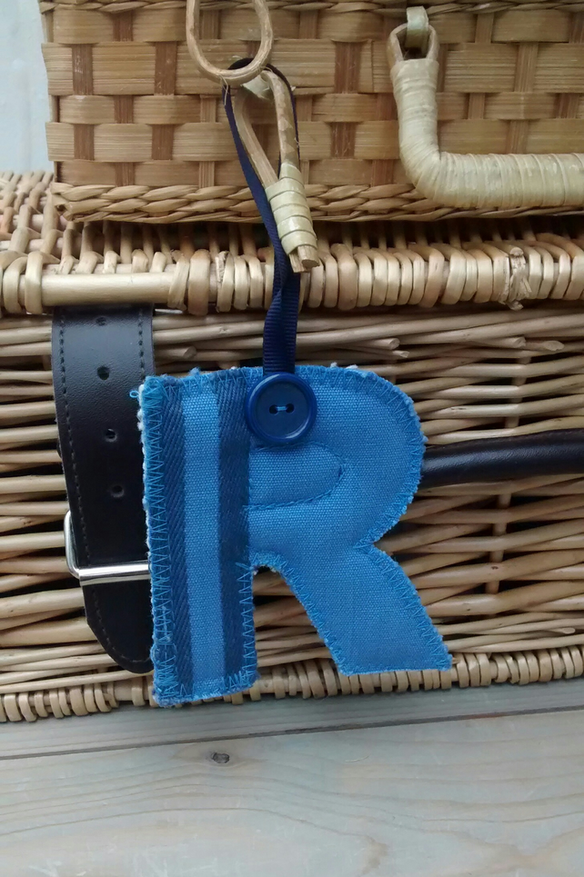 Fabric Initial R, Hanging Letter Decoration, Personalised Gift Tag