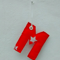 Fabric Gift Tag, Initial M, Hanging Letter Decoration