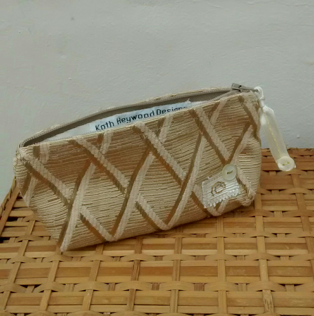 Zipped Pouch in Beige Fabric