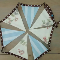 Bunting in Stripes and Floral Fabric