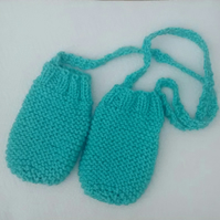 Baby Mittens in Aqua with String