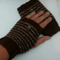 Brown Hand Knit Fingerless Gloves Stripy