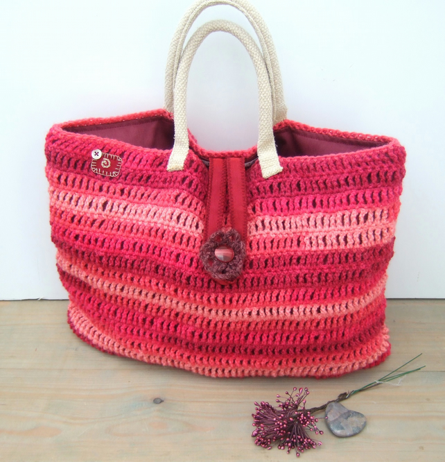 Large Crochet Shopping Bag, Craft Bag
