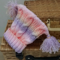 Baby Hat in Cable Knit with Tassels 6 -12 months