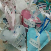 5 Fabric Heart Wedding Favours  - Love