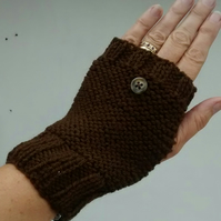 Fingerless Gloves, Brown