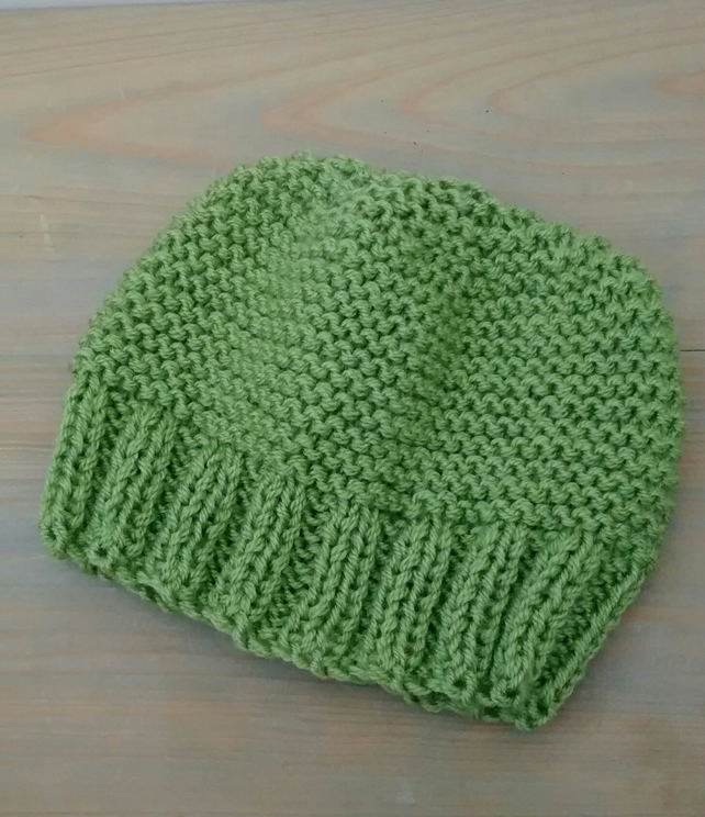 Knitted Beanie Hat in Fern Green Chunky