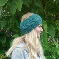 Aran Cable Knit Headband in Spruce Green