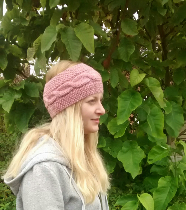 Headband in Rose Pink Aran Cable Knit