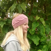 Knitted Headband in Pink