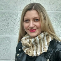 Button Cowl, Camel and Beige Scarf