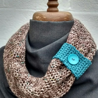 Cowl Scarf - Brown and Turquoise