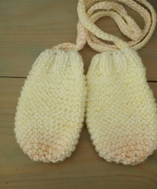 Baby Mittens with String - Lemon and Peach