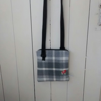 Grey Check Crossbody Bag