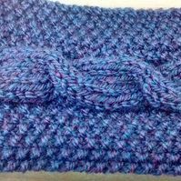 Knitted Headband in Blue Aran