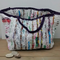 Large Crochet Shopping Bag, Recycled Plastic Bag