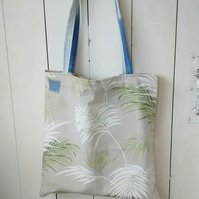 Tote Bag in Palm Leaf Fabric - Beach Bag