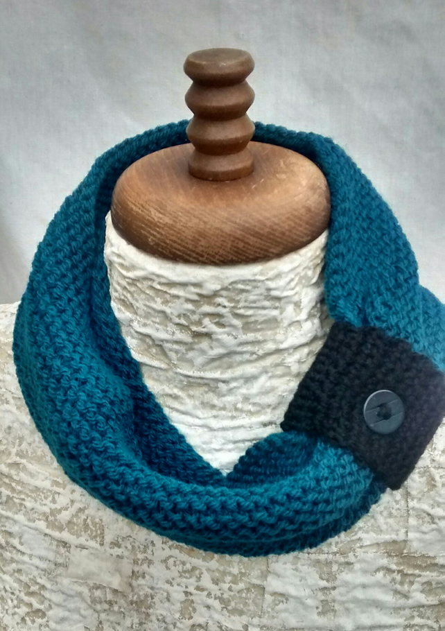 Women's Scarf with Button, Petrol Blue Aran