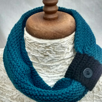 Cowl Scarf with Button in Petrol Blue Aran