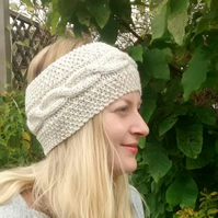 Knitted Cable Headband in Cream Aran, Winter Headband