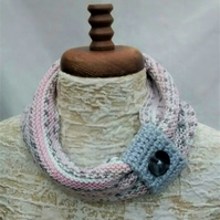 Pastel Cowl, Ladies Knitted Scarf