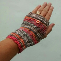 Fingerless Gloves, Coral and Peach, Fair Isle Effect