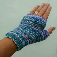 Hand Knit Fair Isle Effect Fingerless Gloves