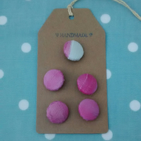 Pink Silk Painted Buttons, Handmade Shank Buttons