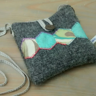 Small Cross Body Bag in Felted Wool with Patchwork Design