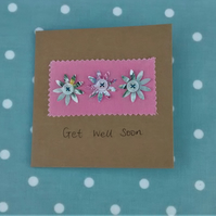 Get Well Soon Card, Floral Card, Handmade