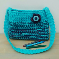 Girls Turquoise Crochet Bag