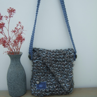 Cross Body Blue Grey Knitted Bag